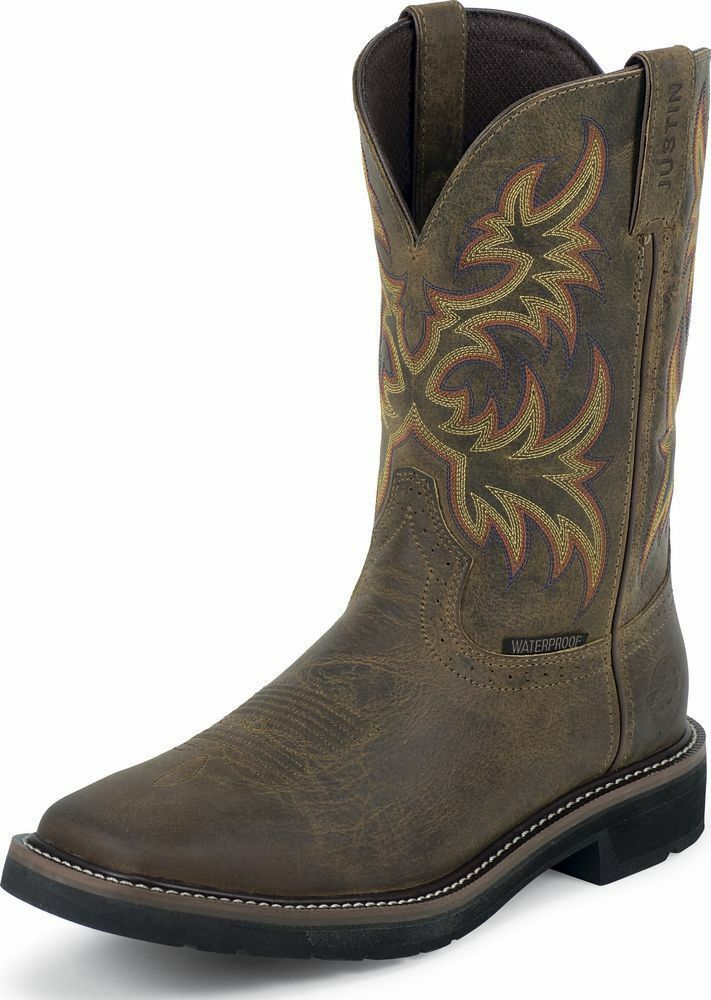 Men S Justin Stampede Waterproof Steel Toe Western Work