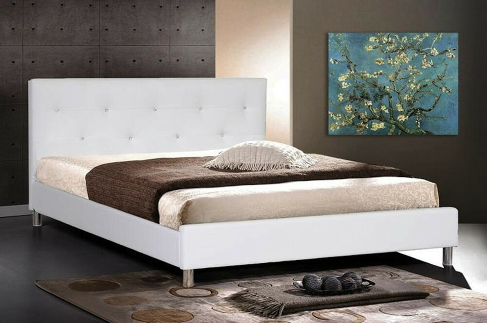 white faux leather queen or king bed new modern crystal button tufted headboard ebay. Black Bedroom Furniture Sets. Home Design Ideas