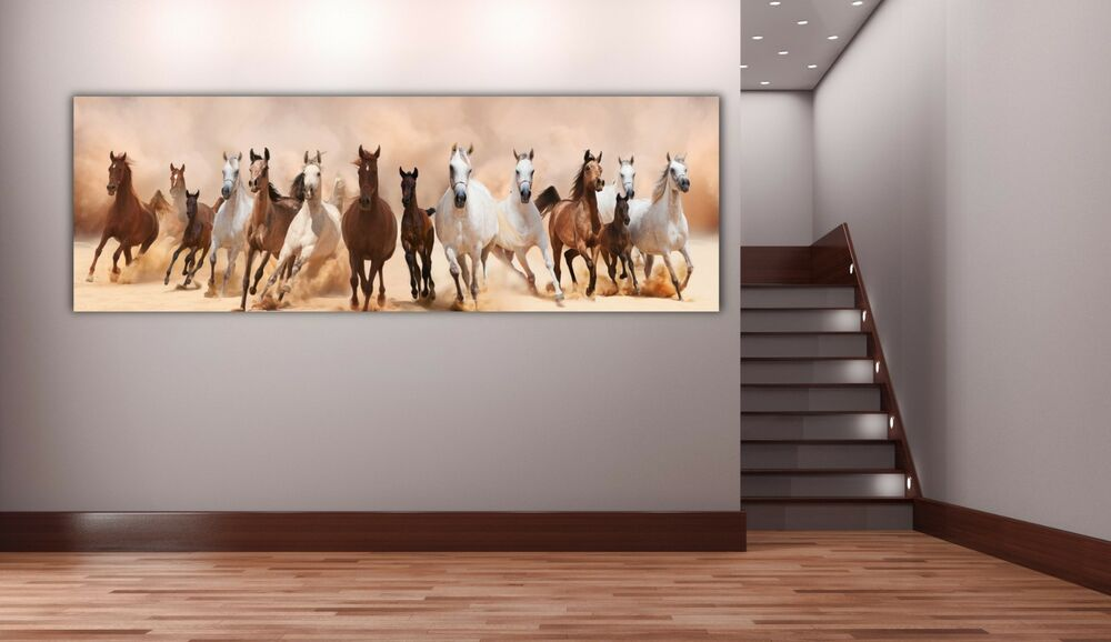Mustang Stallion Horses Panoramic Picture Canvas Print