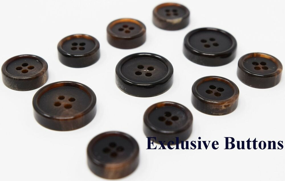 Ultra Thick Luxurious Dark Brown Horn Buttons For Suit, Blazer, or ...