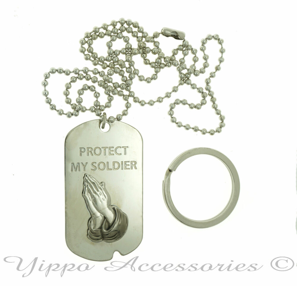Military protect my soldier praying hand dog tag key chain ebay