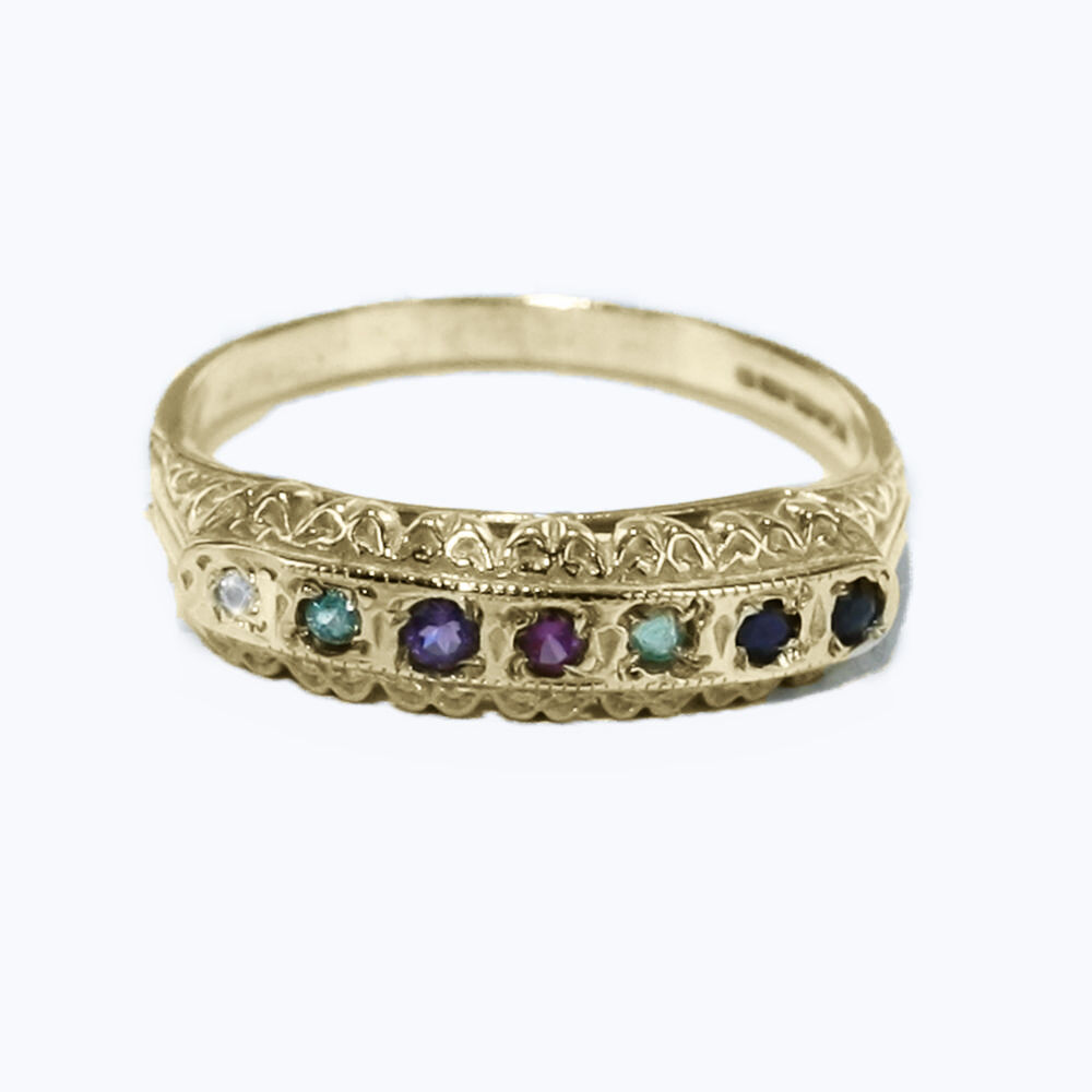 9ct hallmarked yellow gold multi gemstone dearest half