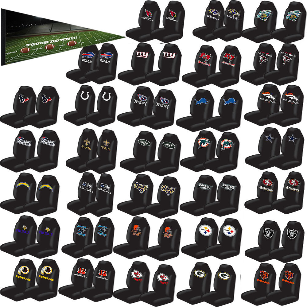 2pc nfl teams black universal auto car truck high back bucket seat cover set ebay. Black Bedroom Furniture Sets. Home Design Ideas