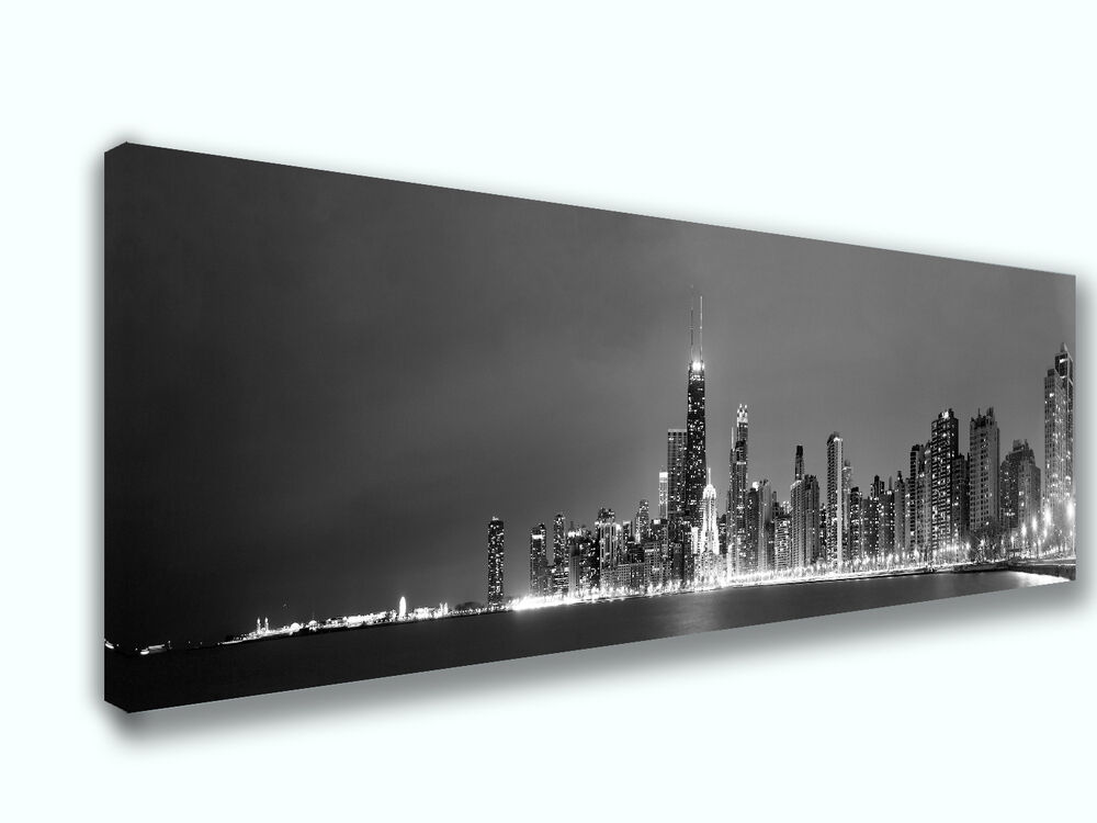 Chicago Skyline Black & White Panoramic Picture Canvas