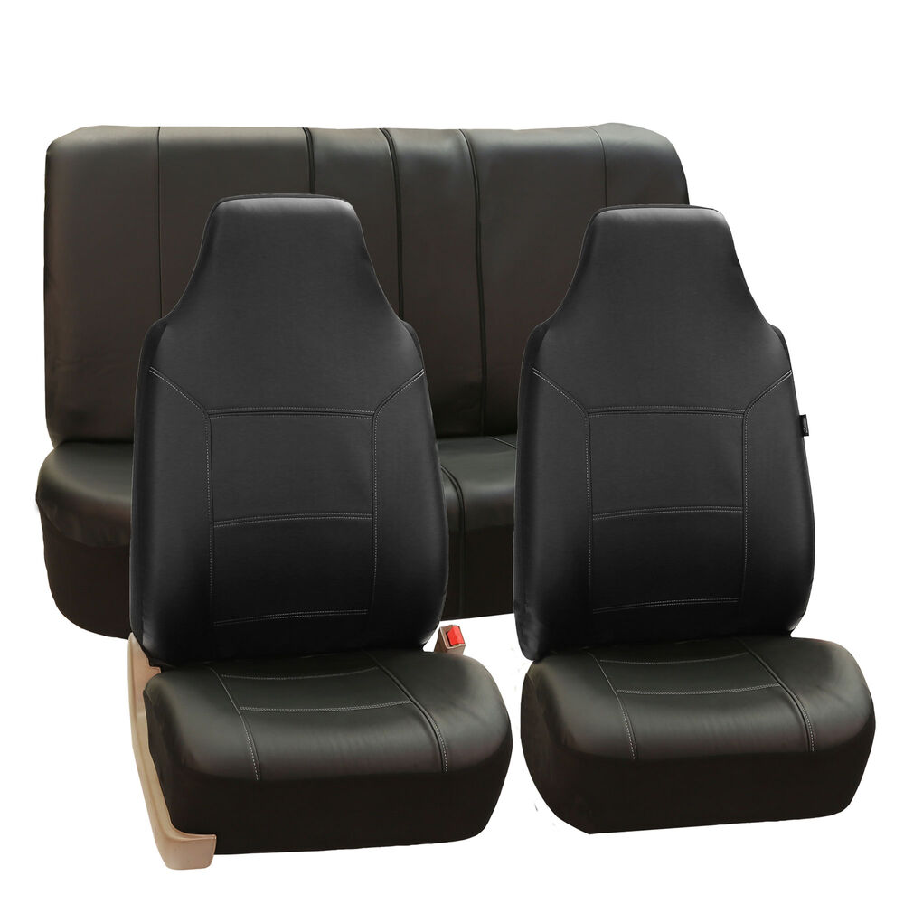 Deluxe PU Leather Highback Seat Covers Front Back Seat