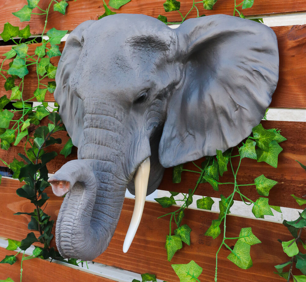 Details About Large Realistic Elephant Pachyderm Bust Wall Plaque Statue Hunter Home Figurine