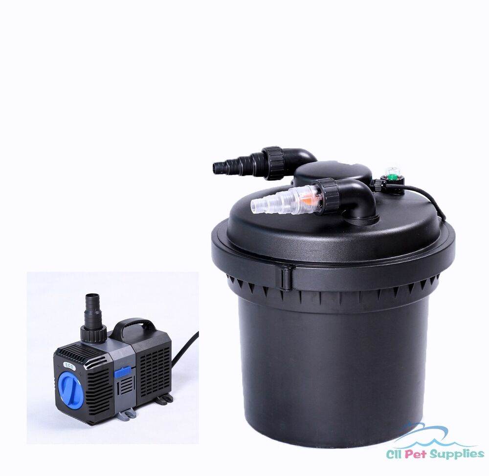 2100 gal pressure pond filter w 13w uv sterilizer koi fish for Pond pump with uv filter