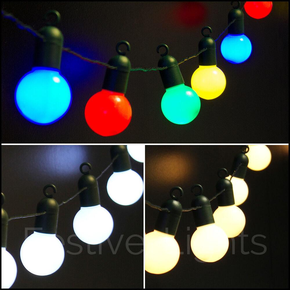 Outdoor String Lights Mains: 20 LED FESTOON GLOBE BULB INDOOR OUTDOOR FAIRY STRING