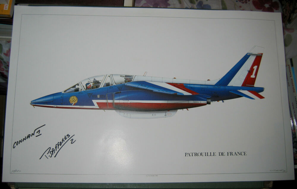 patrouille de france alpha jet profil litho 1988 sign e connan livre perrot ebay. Black Bedroom Furniture Sets. Home Design Ideas