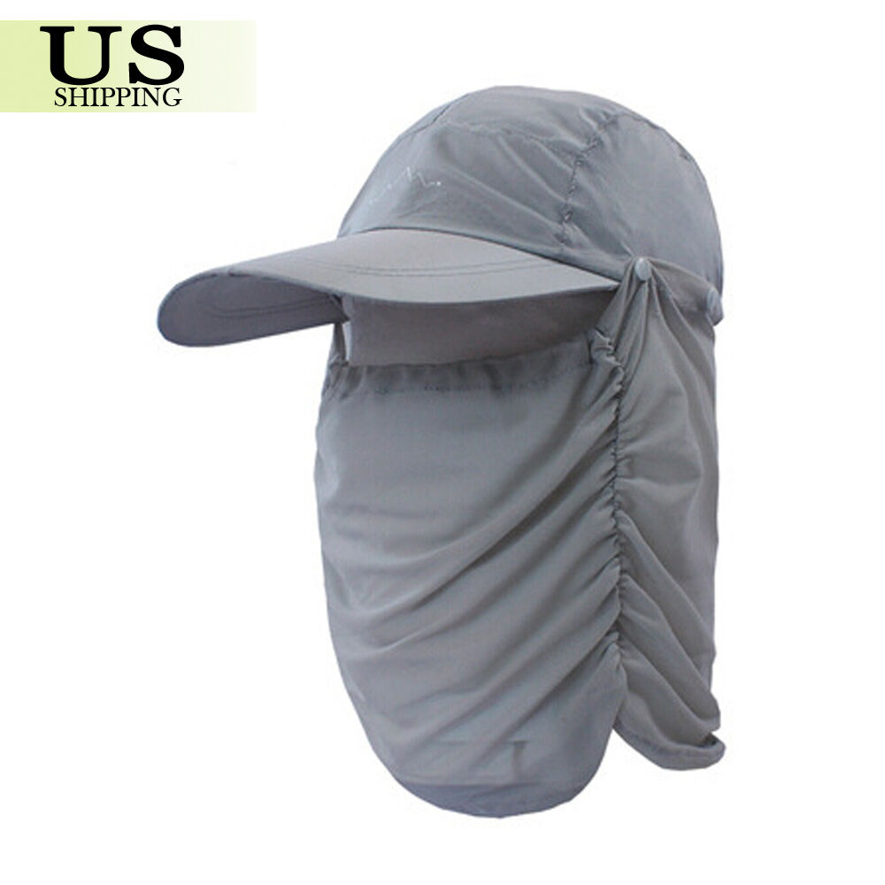 Women men outdoor hiking fishing cap neck face flap cover for Fishing neck cover