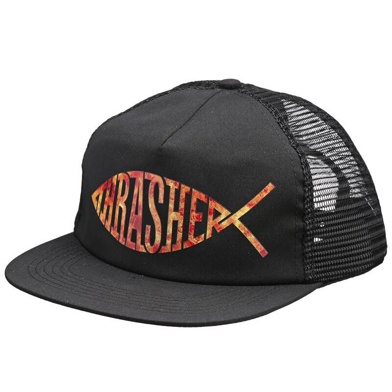 Thrasher magazine fish logo mesh skateboard trucker hat for Mesh fishing hats