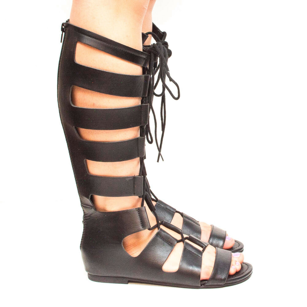 Reanna Knee High Open Toe Gladiator Lace Up Flat Sandals