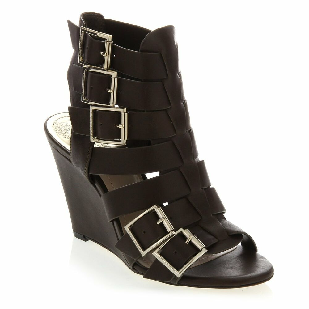 Vince Camuto Quot Martez Quot Buckled Leather Wedge Gladiator