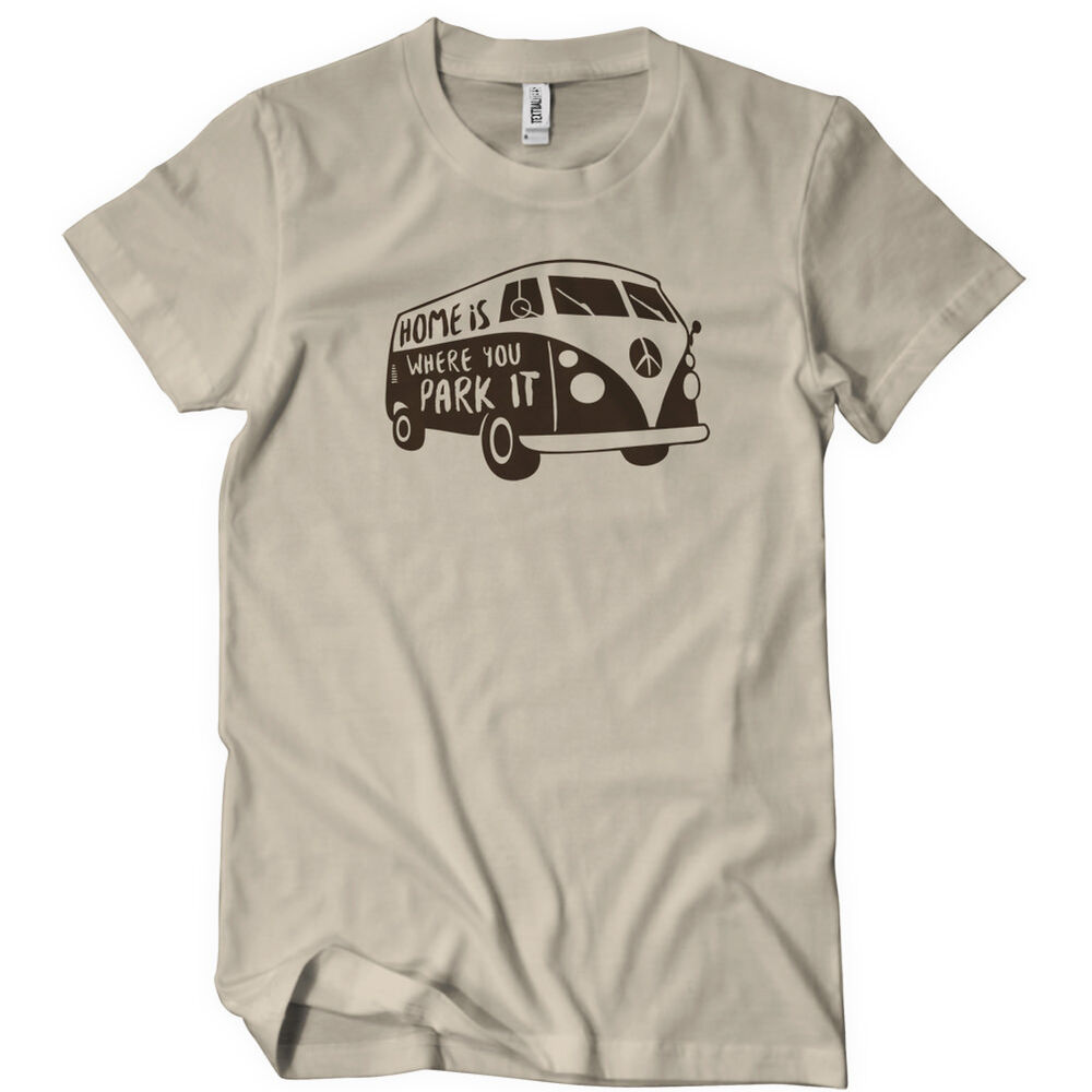 home is where you park it mens funny t shirt tee van bus. Black Bedroom Furniture Sets. Home Design Ideas