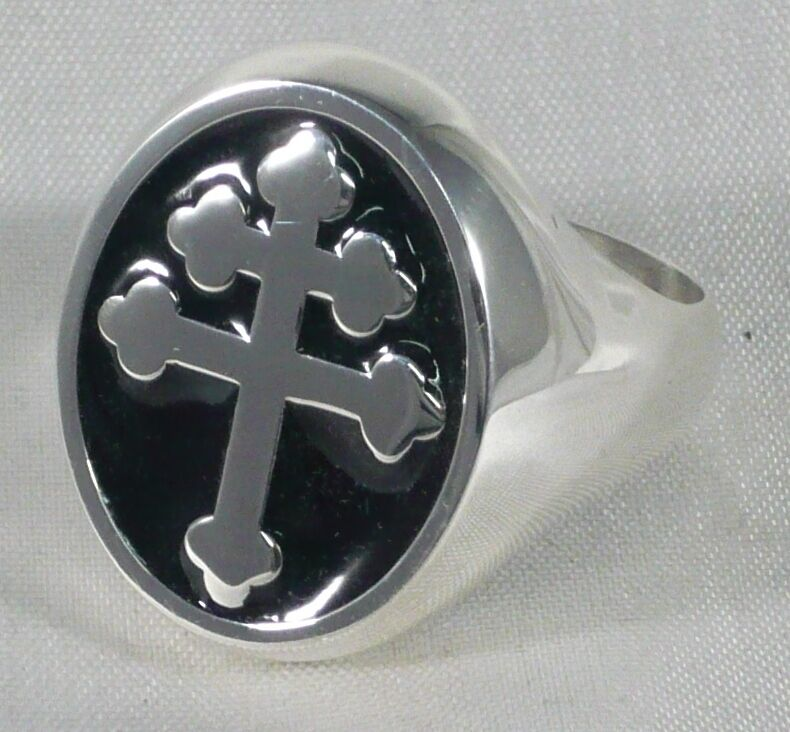This is the medium sized version of our most popular Magnum PI/Cross of Lorraine Ring. This is a Lower Profile