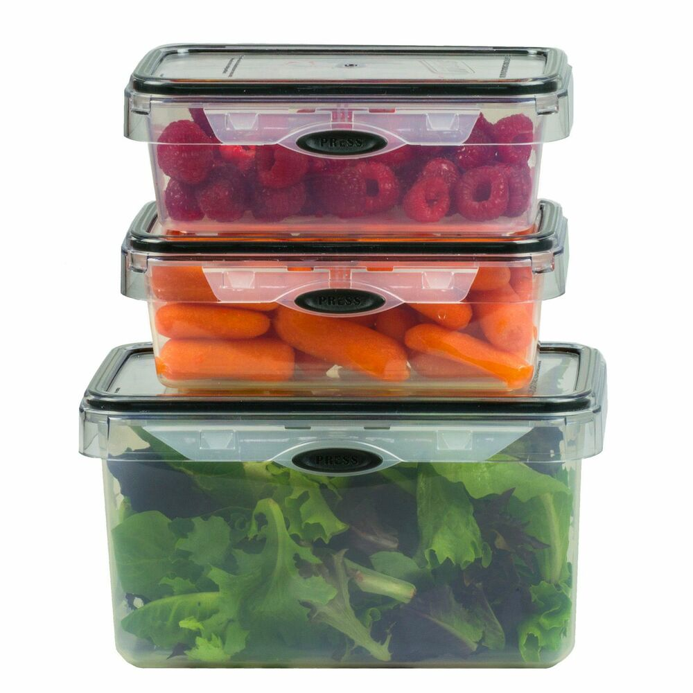 6 Piece Food Storage Set Rectangular Plastic Container Bpa