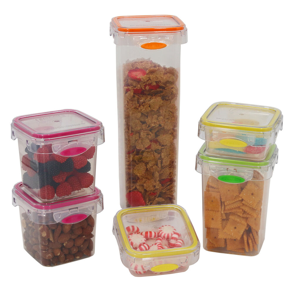 Pantry Food Storage Containers: Food Storage 12 Piece Air Tight Set Colorful Plastic