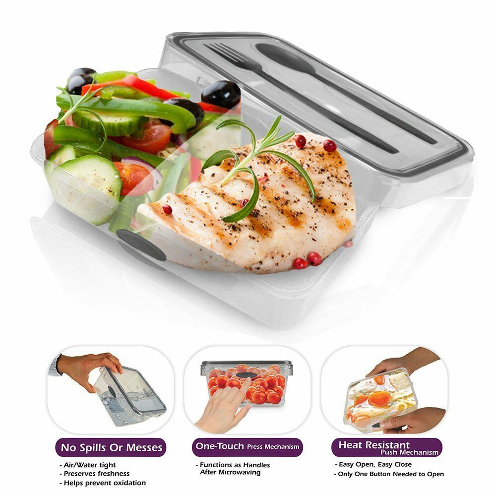 lunch bento box food storage plastic container cutlery set. Black Bedroom Furniture Sets. Home Design Ideas
