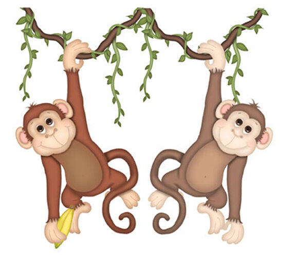Safari monkey mural wall decal noahs ark jungle animal for Baby jungle safari wall mural