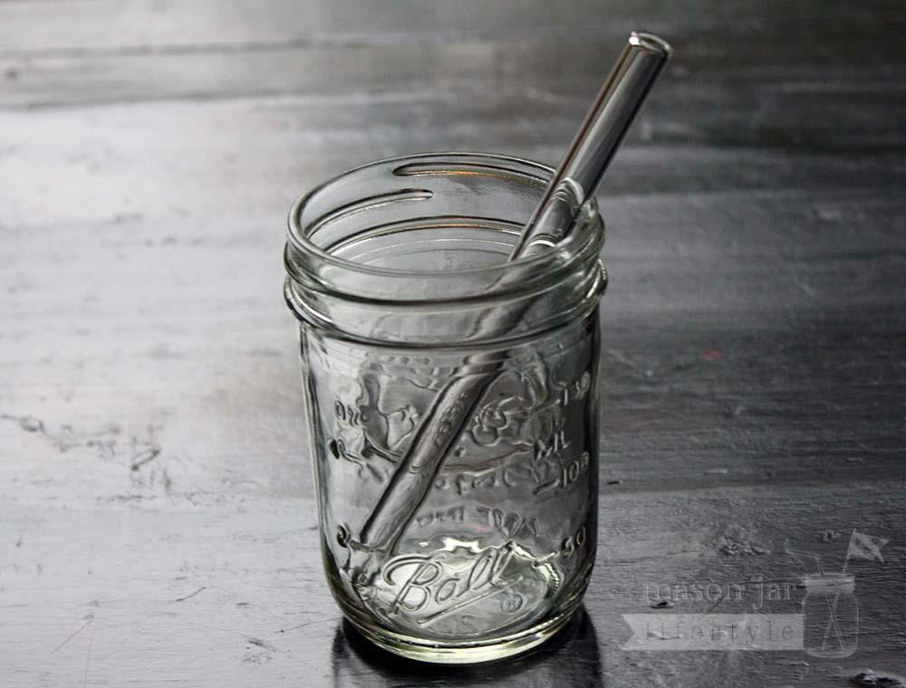 Short thick reusable glass straws pack for half pint