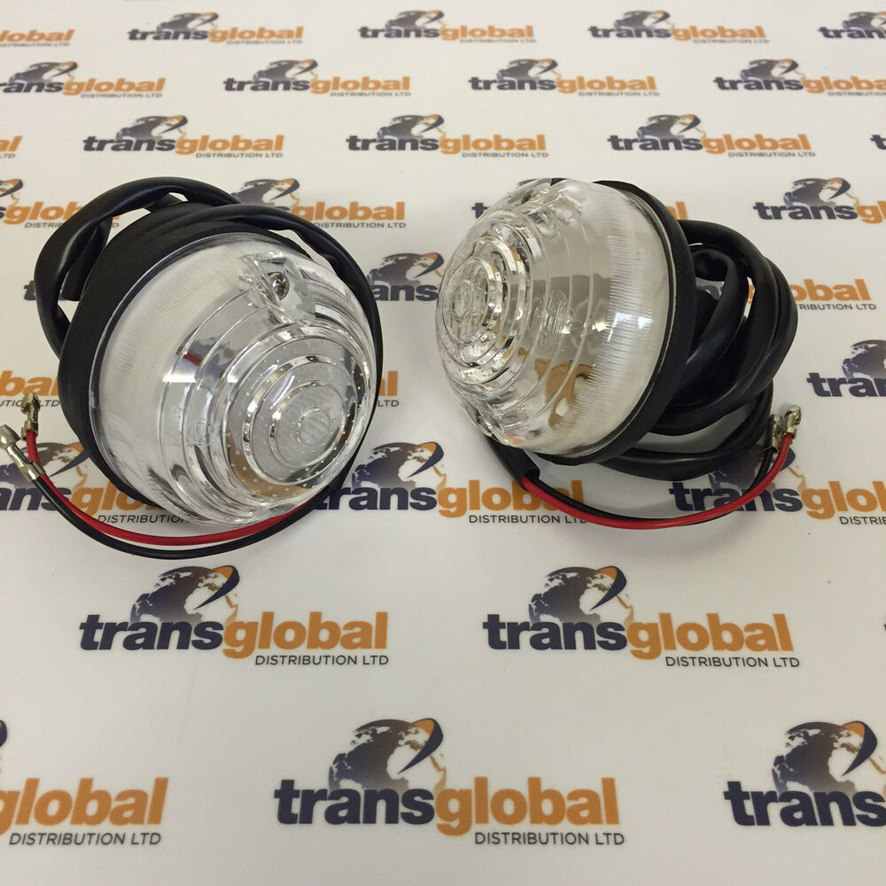 Pair Of Clear Front Indicator Lights For Land Rover: Rover Classic Mini Clear White Front Indicator Units