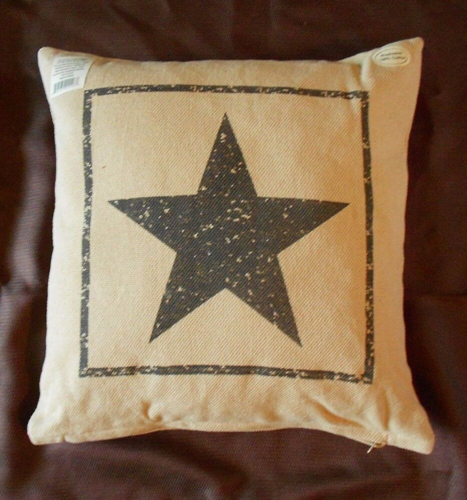 Primitive black star cotton burlap decorative throw pillow 16 x 16 ebay - Decorative throw pillows ...
