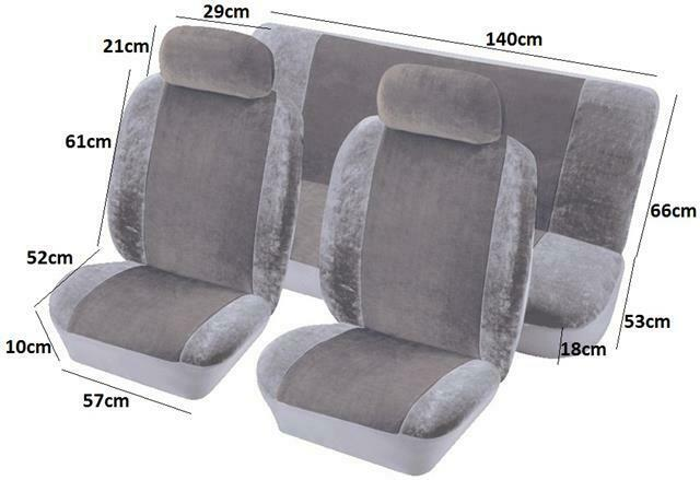 quality fabric velour racing style car seat covers full set protectors grey ebay. Black Bedroom Furniture Sets. Home Design Ideas