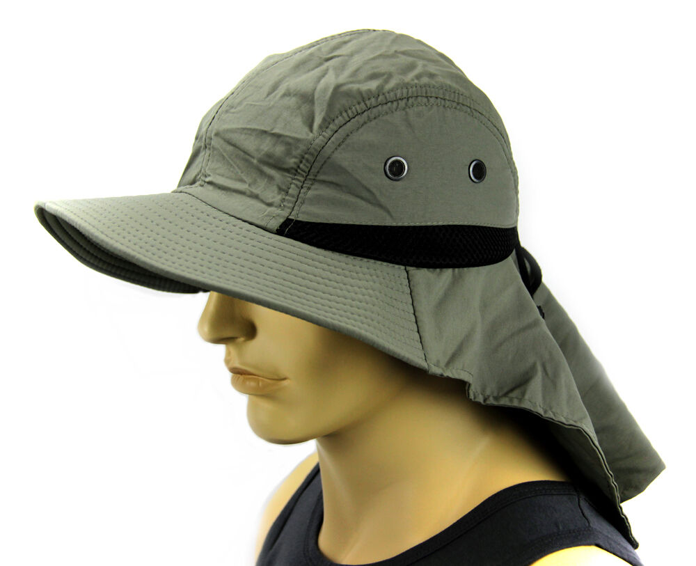 Details about Boonie Cap Sun Flap Bucket hat Ear Neck Cover Sun Protection  Soft material-Olive cebb2a8994d