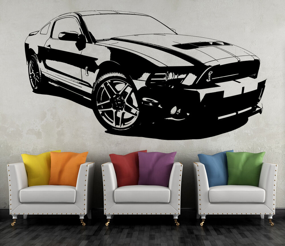 ford mustang shelby wandtattoo wandbild wand tattoo. Black Bedroom Furniture Sets. Home Design Ideas