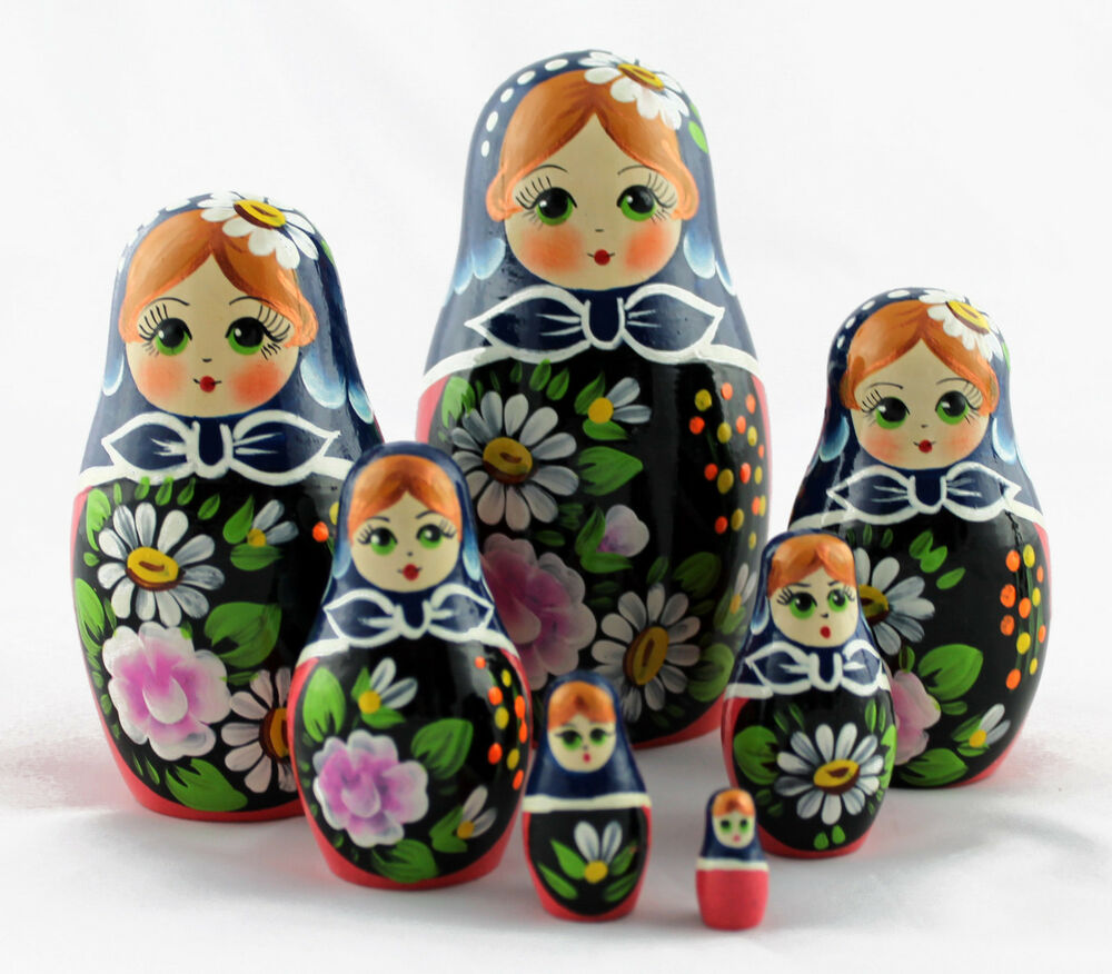 Matryoshka russian wooden babushka doll babooshka nesting for 7p decoration