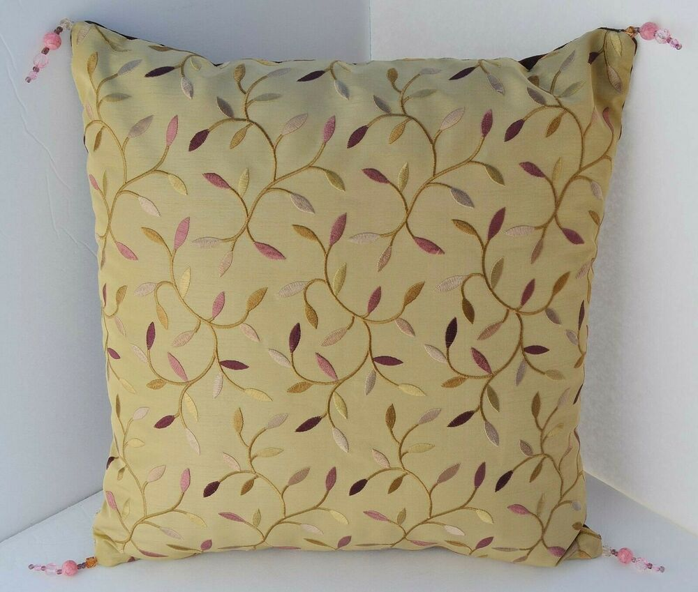 Decorative Pillows With Tassels : DUSTY PINK LEAFY VINES SPUN GOLD BEAD TASSELS DECORATIVE DESIGNER THROW PILLOW eBay