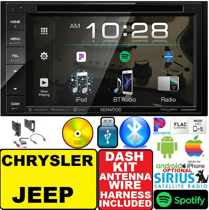 Chrysler Jeep Dodge Double Din Kenwood Bluetooth Bt Cd Dvd Video 2010 Challenger Fuse Box Radio Stereo 8903594381963 Ebay