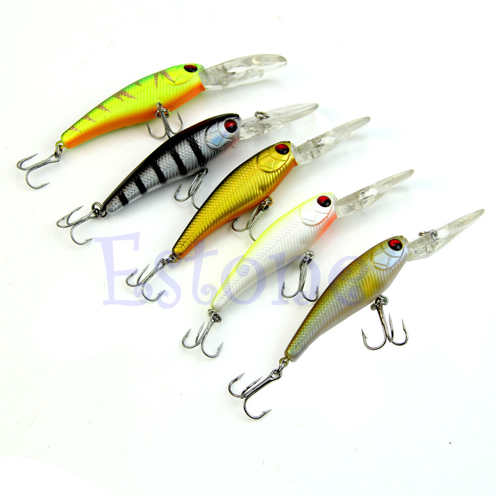 1pc plastic minnow fishing lures sinking rattles bass for Bass fishing lures