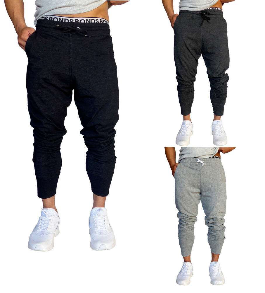 Mens Cotton Trackies Skinny leg tapered Slim Joggers Pants ...
