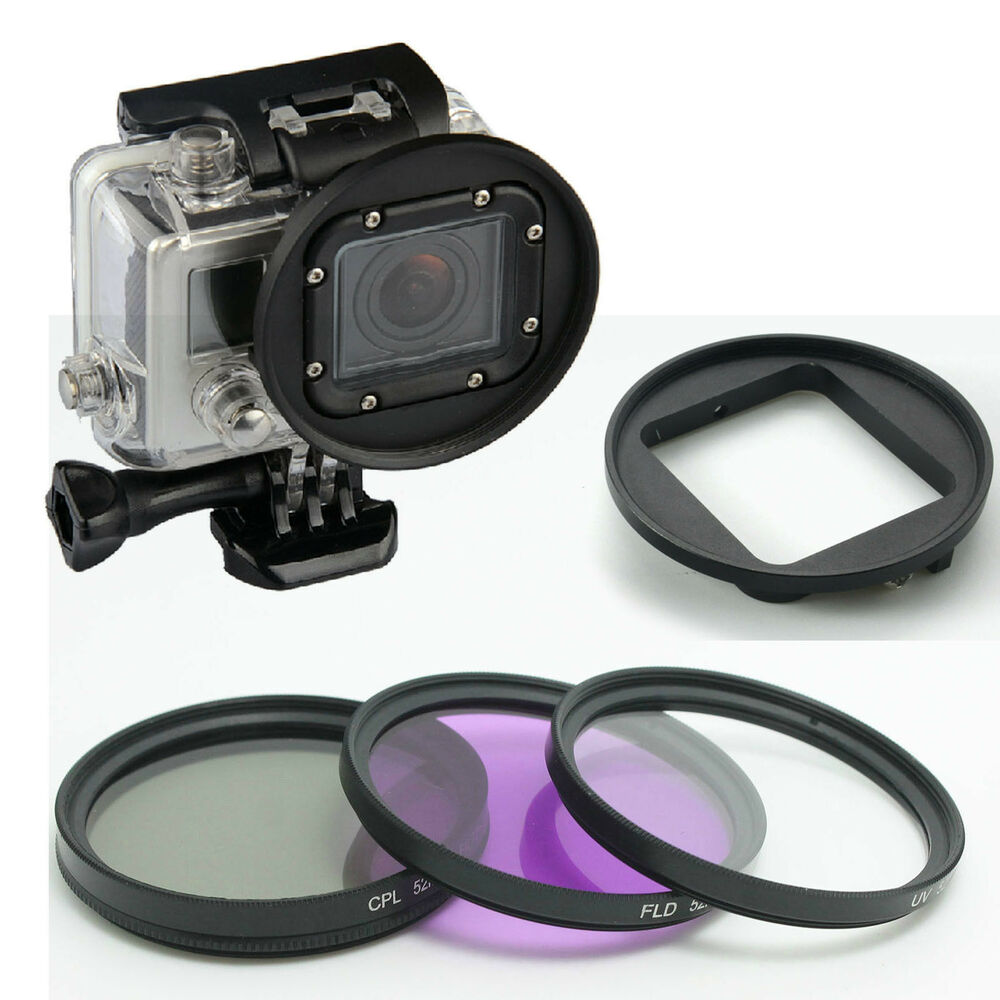 58mm uv cpl fld lens filter kit for gopro hero3 4 f canon. Black Bedroom Furniture Sets. Home Design Ideas