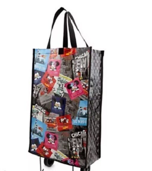 new disney store chicago mickey mouse reusable grocery bag shopper tote w wheels ebay. Black Bedroom Furniture Sets. Home Design Ideas