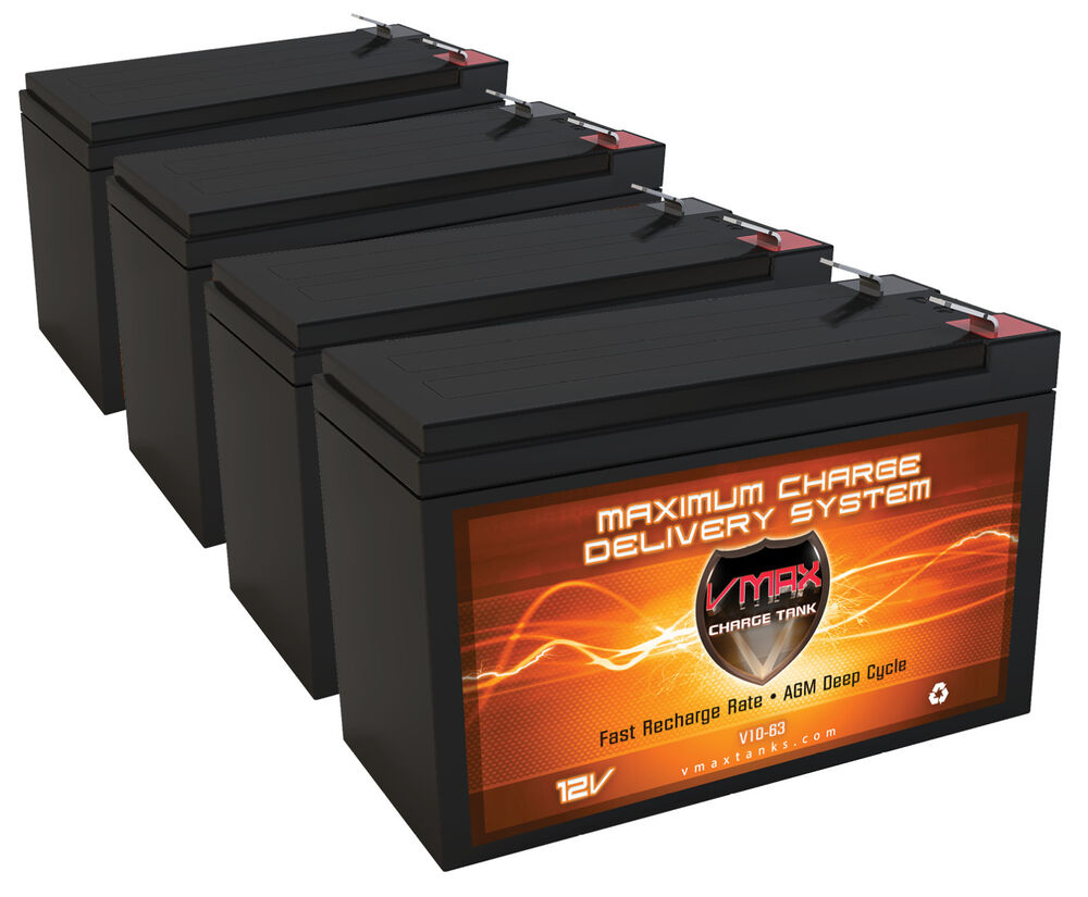 qty4 vmax63 12v 10ah agm sla fresh battery for 48v. Black Bedroom Furniture Sets. Home Design Ideas
