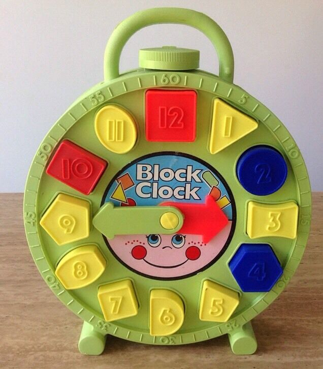 vintage block clock by amloid learn time number blocks. Black Bedroom Furniture Sets. Home Design Ideas