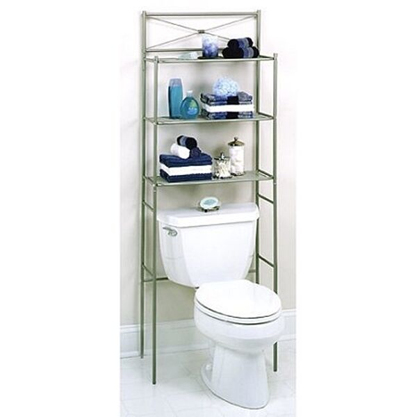 Luxury Product Description Bring Elegance To Your Bathroom With This Overthetoilet Spacesaver Shelving Unit These Spacesaver Shelves Feature Curling Elements Along The Frame And Also A Mirror Accent At The Top The Overthetoilet