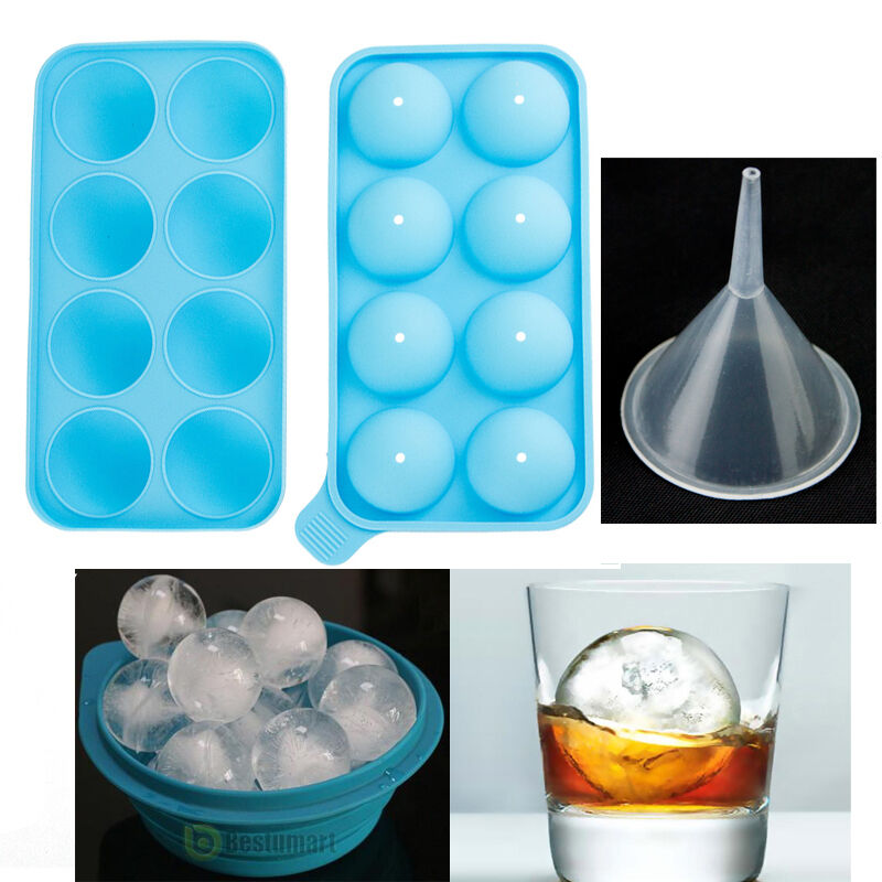 New Round Ice Balls Maker Tray 8 Sphere Molds Cube Whiskey