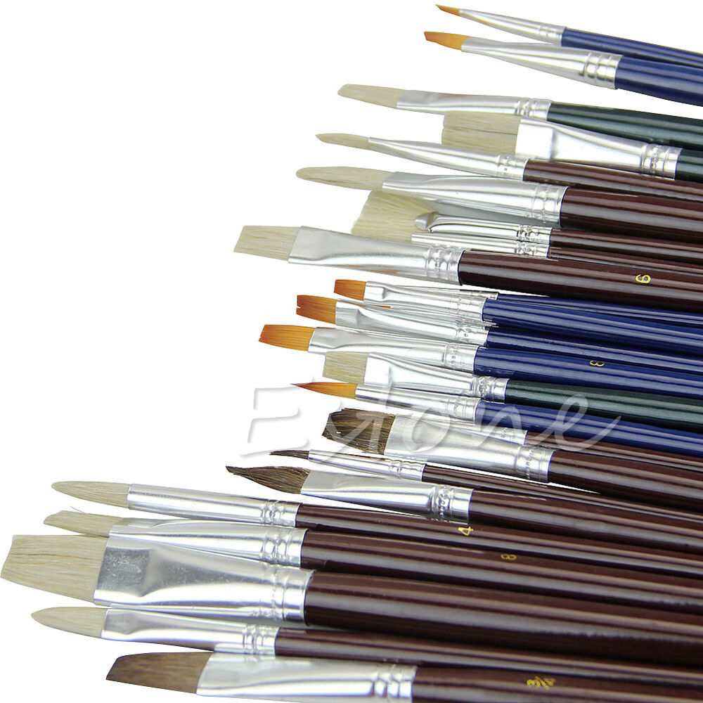 25pcs artist acrylic nylon hair watercolors oil painting for Acrylic mural paint supplies