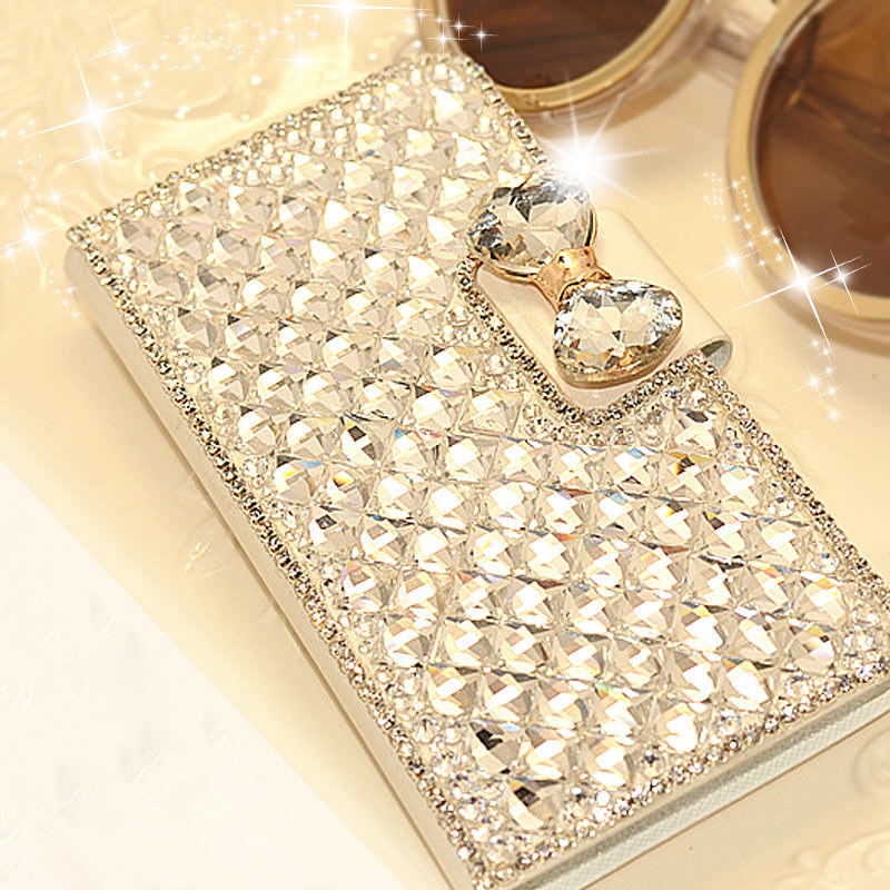 6 Crystal Pearl Photo Picture Frame Diamond Bowknot: Luxury Bling Bowknot Crystal Diamond Wallet Flip Case