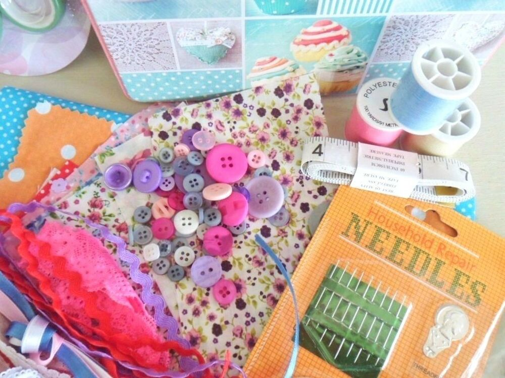 Childrens sewing box beginners basket full of craft for Sewing and craft supplies