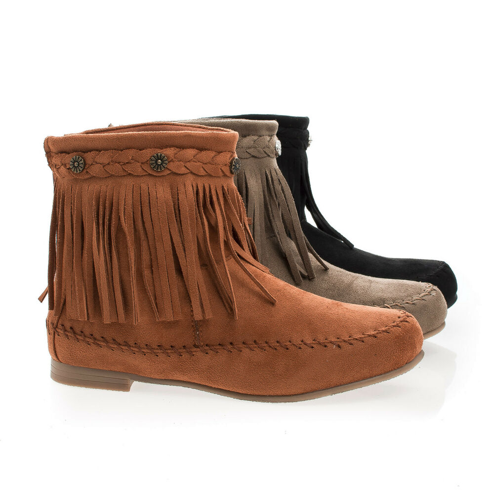 starcy93 moccasin braid fringe toe flat ankle boots