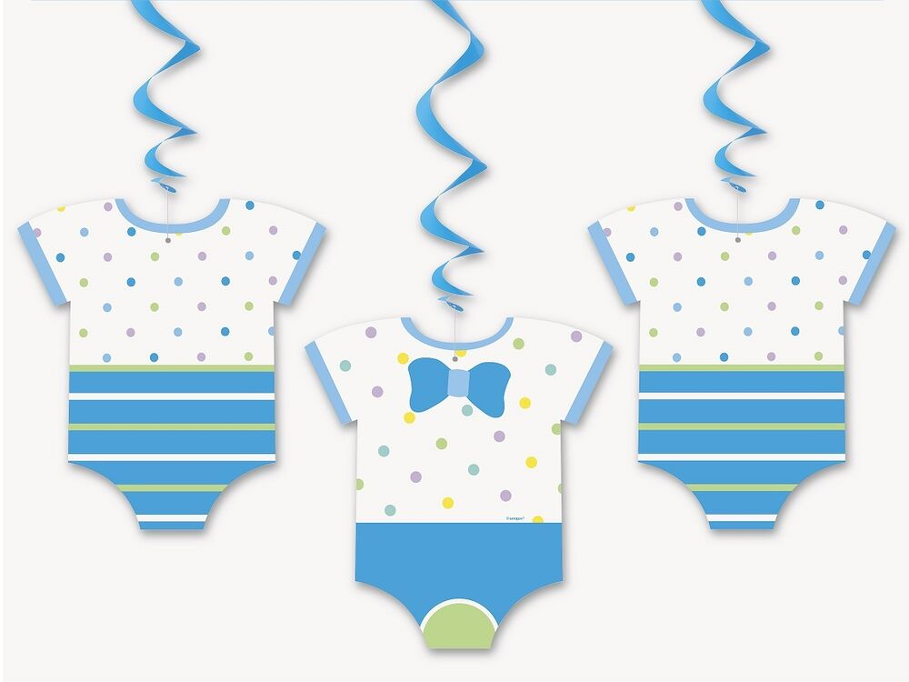 blue dots baby shower clothes bow tie hanging swirls decorations 1