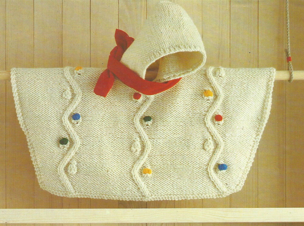 Knitting Pattern Baby Poncho With Hood : Baby Knitting Pattern Hooded Poncho Chunky knit 0-18months ...