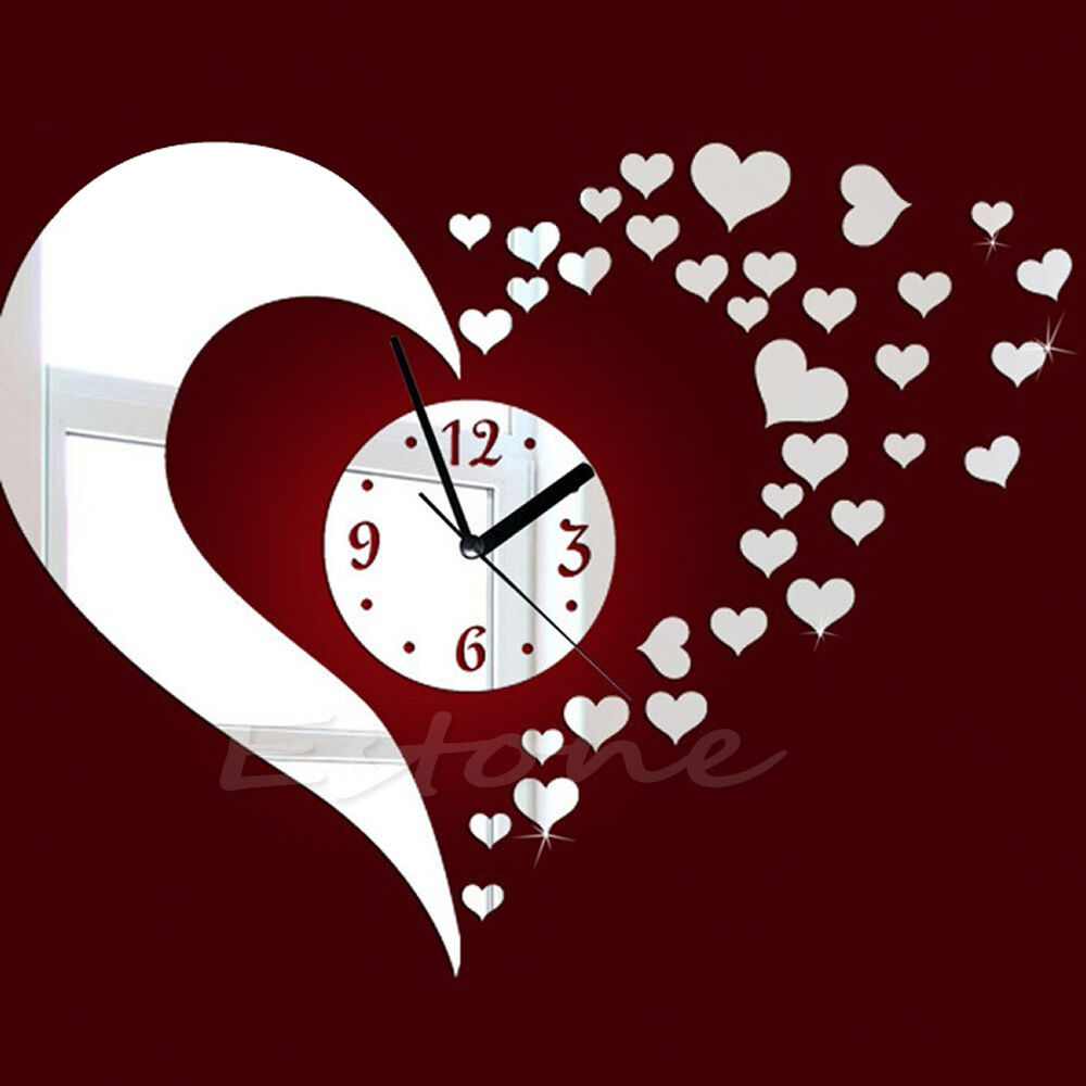 Modern Art Decor Wall Clock Sticker : New diy home modern d mirror wall clock love sticker