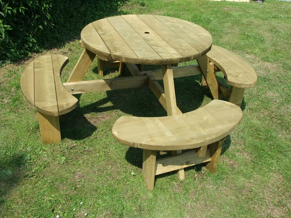 Picnic Table 8 Seats Round Pub Bench Garden Furniture. Winchester ...