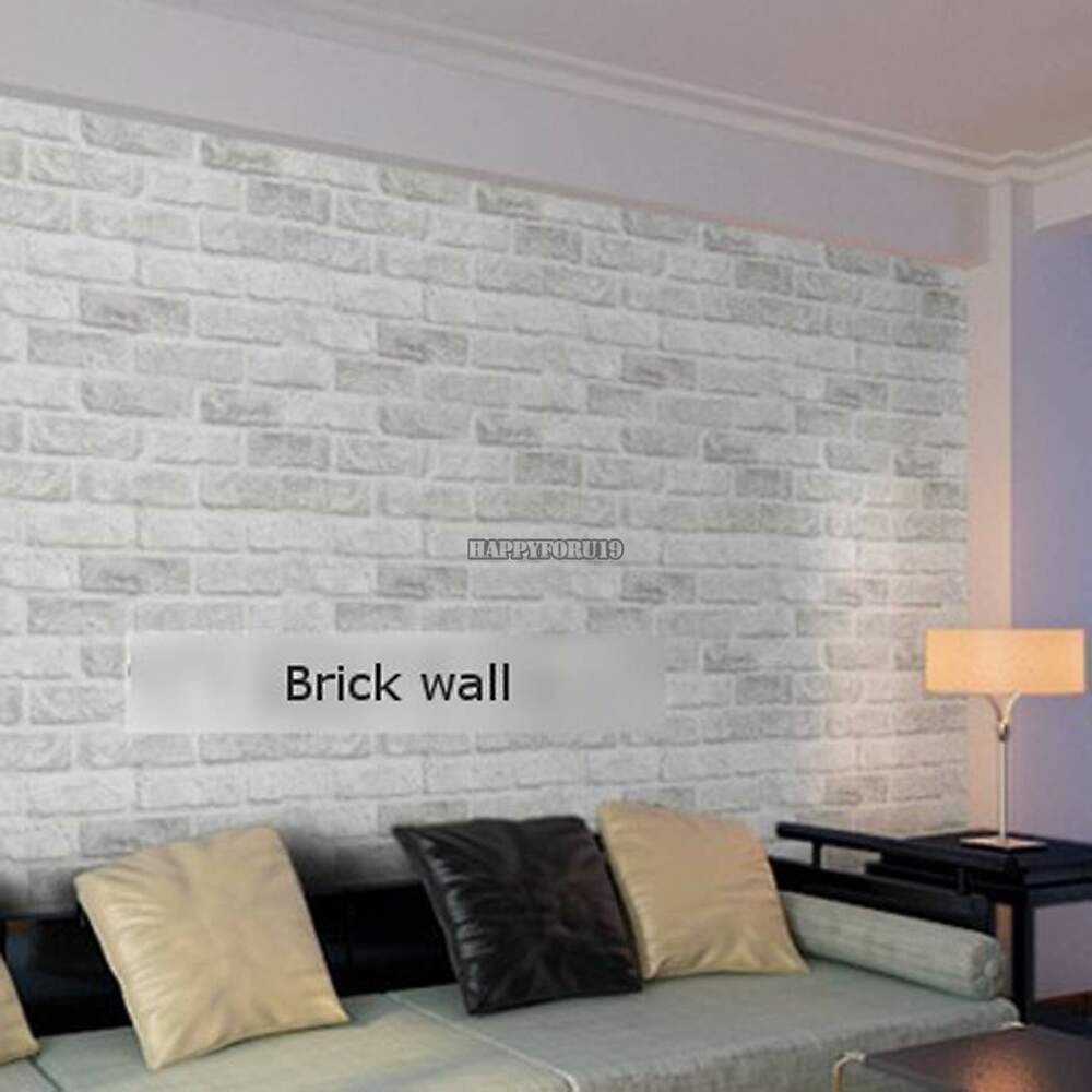 10M Roll Natural Embossed Textured 3D Brick Wall Sticker