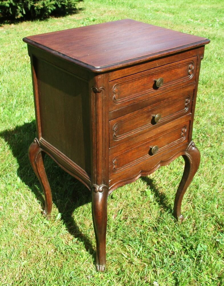 Antique french massive oak side cabinet end table for Large side table with drawers